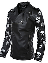 Men's Casual/Daily Simple Jackets,Print Long Sleeve Black PU