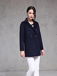 Feminino Casaco Casual Simples Outono / Inverno,Sólido Azul Lã Colarinho de Camisa-Manga Longa Média