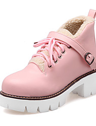 Women's Boots Fall / Winter Platform Fur Party & Evening / Dress / Casual Platform Fur / Lace-up Pink / White / Beige
