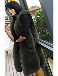 Women's Going out / Casual/Daily Cute Jackets,Solid Round Neck Sleeveless Fall Gray / Green Faux Fur Thick