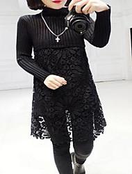 Damen Standard Pullover-Ausgehen Niedlich Solide Beige Schwarz Grau Lila Rundhalsausschnitt Langarm Polyester Winter Mittel