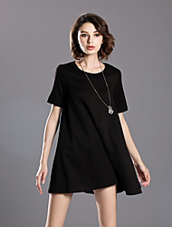 INPLUS LADY Women's Casual/Daily Simple Little Black DressSolid Round Neck Above Knee Short Sleeve Black Others Summer High Rise Micro-elastic Medium