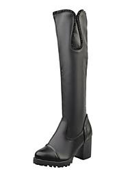 Women's Boots Winter Comfort PU Casual Chunky Heel Black