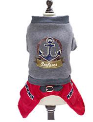Cachorro Camiseta Roupas para Cães Casual Carta e Número Cinzento
