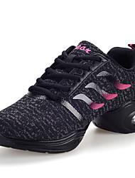 Non Customizable Women's Dance Shoes Fabric Fabric Dance Sneakers Sneakers Flat Heel Practice / Outdoor Black / Pink