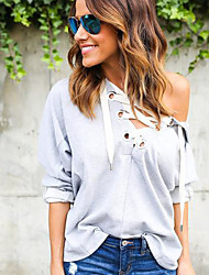 Women's Casual/Daily / Sports Simple / Street chic Spring / Fall T-shirtSolid All Match Criss-Cross Sexy Hooded Long Sleeve