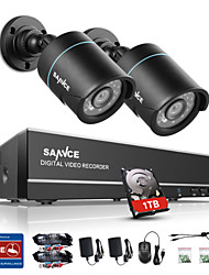 SANNCE New 1.0MP 720P 4CH HD 4 in1 TVI H.264 DVR In/Outdoor 2 PCS CCTV Security Camera System  Built-in 1TB HDD