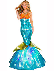 Mermaid Tail Fairytale Festival/Holiday Halloween Costumes Orange Blue Solid DressHalloween Christmas Carnival Children's Day New Year