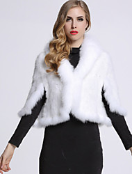 BF-Fur Style Women's Casual/Daily Sophisticated Fur CoatSolid Shirt Collar  Sleeve Winter Red / White / Black / Brown / Gray Others