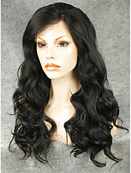IMSTYLE 24''Natural Looking Heat Resistant Black Long Wave Synthetic Lace Front Wig For Black Women