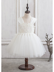 Princesse Mi-long Robe de Demoiselle d'Honneur Fille - Satin / Tulle Sans Manches Bretelles avec Noeud(s) / Dentelle