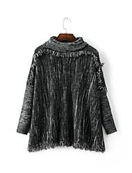 Damen Standard Pullover-Ausgehen Lässig/Alltäglich Einfach Street Schick Punkt Grau Kapuze Langarm Baumwolle Herbst Winter Mittel