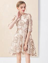 Gaine Robe Femme Décontracté / Quotidien Vintage,Couleur Pleine Col Arrondi Au dessus du genou ½ Manches Rose Rayonne / Polyester Automne