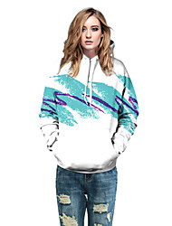 Women's Casual/Daily / Sports Active / Simple Loose Hoodie 3D Print Round Pocket Neck Micro-elastic Cotton / Polyester Long Sleeve Fall / Winter