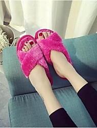 Damen-Slippers & Flip-Flops-Lässig-PelzKomfort-Rosa / Fuchsie