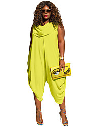 Women's Yellow Green Sexy Cowl Neck Plus Size Loose Fitted Harem Jumpsuit