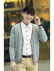 Men's Casual/Daily Simple Regular Cardigan,Color Block Multi-color V Neck Long Sleeve Cotton / Polyester Spring / Fall Medium