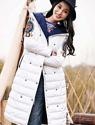 Women's Long Down Coat,Simple Going out / Casual/Daily Solid-Polyester White Duck Down Long Sleeve Blue / White / Beige