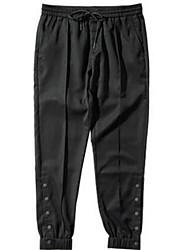 Hommes Sarouel Chino Pantalon,Vintage Travail Couleur Pleine Taille Normale Cordon Coton Micro-élastique All Seasons
