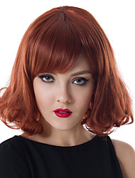 12 inch Capless Women Medium Curly Wave Fluffy Red Wine Synthetic Wigs with Free Hair Net and Comb