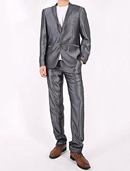 Men's Casual/Daily Simple Suits,Solid Shawl Lapel Long Sleeve Gray
