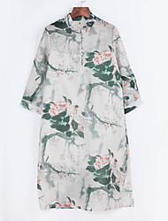 Gaine Robe Femme Décontracté / Quotidien Grandes Tailles simple,Imprimé Mao Mi-long Manches ¾ Blanc Soie Nylon Eté Taille Normale