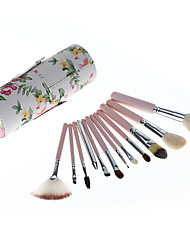 12 Makeup Brushes Set Goat Hair Professional / Portable Wood Handle Face/Eye/Lip Rose Red