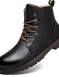Men's Spring / Fall / Winter Combat Boots / Round Toe Leather Outdoor / Casual Chunky Heel Black / Brown
