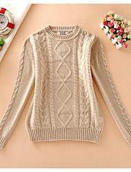 Damen Kurz Pullover-Lässig/Alltäglich Einfach Solide Beige Grün Rundhalsausschnitt Langarm Baumwolle Herbst Mittel Mikro-elastisch