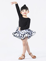 Latin Dance Dresses Children's Chinlon / Spandex / Polyester Ruffles / Polka Dots / Splicing 1 Piece Long Sleeve