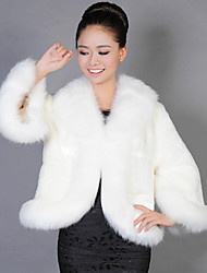 Women's Going out Sexy Fur Coat,Solid Long Sleeve White / Black Faux Fur