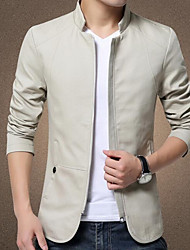 Men's Casual/Daily Simple Leather Jackets,Solid Stand Long Sleeve Winter Multi-color PU Thick