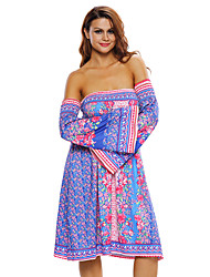 Women's Blue Pink Floral Print Off-shoulder Boho Dress