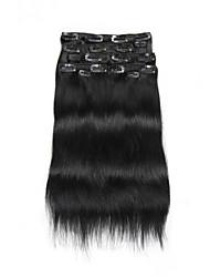 9pcs / set clipe de 120g de luxo em extensões do cabelo escuro 16inch 20inch cabelo 100% humano preto para as mulheres
