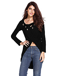 Women's Black Lace Up Long Sleeve Ruched Pullover Shirt