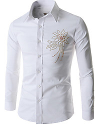Men's Casual/Daily Simple Shirt,Solid Square Neck Long Sleeve White / Black Cotton
