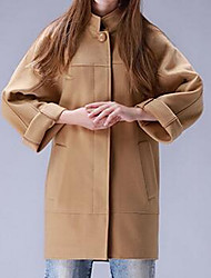 Women's Casual/Daily Simple Coat,Solid Long Sleeve Brown Polyester