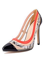 Damen-High Heels-Kleid-Kunstleder-StöckelabsatzSchwarz