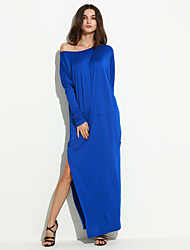 Women's Fashion Casual / Beach Slash Neck Loose Maxi Dress