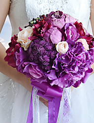 Dark Purple Wedding Bouquet Bridal Silk Holder Flower Pretty Pearls Ornaments Bridal Bouquet With Ribbon