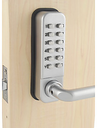 Mechanical Password Door Handle Lock,Deadbolt Code Handle Lock, Silvery Color, Zinc Alloy