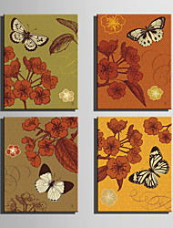 E-HOME Stretched Canvas Art Butterflies And Flowers Decoration Painting  Set Of 4
