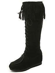 Women's Boots Fall Winter Comfort Suede Outdoor Dress Casual Low Heel Tassel Black Gray Light Brown Walking