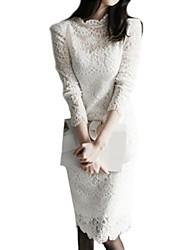 Feminino Bainha / Rendas / Preto e Branco Vestido,Happy-Hour / Trabalho Sofisticado Sólido Colarinho Chinês Altura dos Joelhos Manga Longa