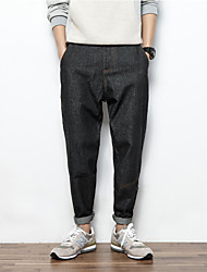 Men's Loose / Harem Chinos Pants,Casual/Daily Simple Solid Mid Rise Zipper Cotton Inelastic All Seasons