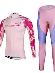 Esportivo Calça com Camisa para Ciclismo Mulheres Manga Comprida MotoRespirável / Secagem Rápida / Design Anatômico / Zíper Frontal /