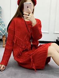 Damen Lang Pullover-Ausgehen Lässig/Alltäglich Einfach Solide Rot Grau Gelb Rundhalsausschnitt Langarm Baumwolle Acryl Polyester Winter