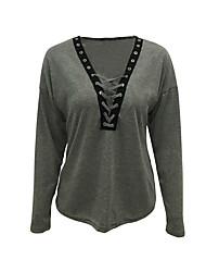 Tee-shirt Femme,Couleur Pleine Sortie / Décontracté / Quotidien Sexy / simple Printemps / Automne Manches Longues V Profond Rouge / Gris