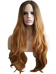 Capless Long Medium Side Bang Synthetic Wigs for Women Ombre Color Brown Heat Resistant with Free Hair Net