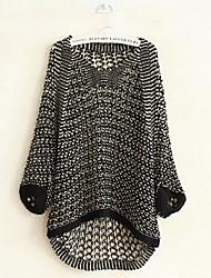 Damen Standard Pullover-Ausgehen Lässig/Alltäglich Einfach Solide Beige Schwarz Braun Gelb Lila Rundhalsausschnitt Langarm Baumwolle